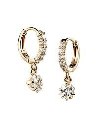 Tidoo Jewelry 迷人吊式水晶耳环,女式 18k 镀金吊坠耳环