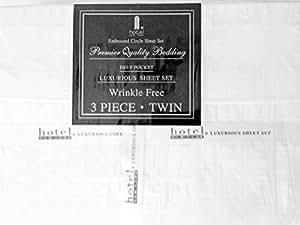 Hotel New York 90GSM 压花圆形 2 超细纤维枕套和床单 4 件套 白色 两个 HNYCIRC2TWINSHEETWHIT4