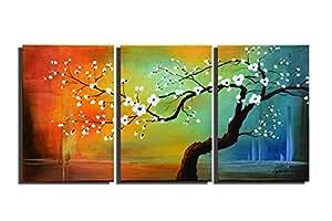 ARTLAND * 手绘加框现代墙壁艺术冬季树 3 件套画廊包装风景油画,随时悬挂客厅墙壁装饰 Artwork -9 16x24inchesx3 FCP-504-F