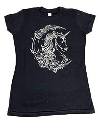 Tultex 美丽独角兽星玫瑰新月亮 T 恤*蓝女式青少年