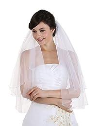 2T 2 层透明水晶串珠婚礼头纱肘长 76.2 cm