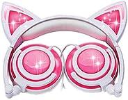 iPURR 貓耳兒童耳機可充電 LED 發光可折疊頭戴式耳機適用于女孩男孩,兼容 iPad、兒童平板電腦和兒童可穿戴音樂設備(新粉色)LX-107
