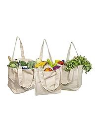 *佳帆布杂货购物袋 带瓶套 - 布特购物袋 耐用且高级 - 可重复使用的杂货袋 - 可洗环保帆布购物袋 带提手 天然棉 OCM1922