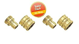 Gilmour 09QCGT 2-Piece Green Thumb Brass Quick Connector Set for Hose 2 件装