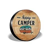 MSGUIDE Happy Camper 轮胎罩备用轮罩 适用于RV Jeep 牧马人拖车 14 15 16 17 英寸防水防尘*