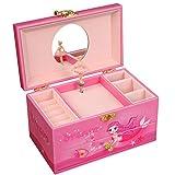 SONGMICS 芭蕾舞音乐首饰盒适合小女孩,人造皮革音乐盒带抽屉,粉色美人鱼 UJMC14PK