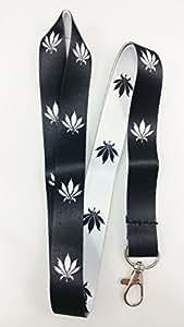大麻叶系绳/钥匙扣 黑/白 带夹子 钥匙或身份徽章。 非常适合汽车钥匙、房钥匙或身份徽章 1