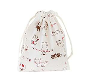 Riverer 12 件可爱猫婚礼糖果棉礼品袋袋派对礼品盒带抽绳,多种尺寸 白色 14x16cm (5.5x6.3 Inches) BZD01-14x16cm(5.5x6.3 Inches)