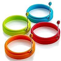 硅胶蛋环,蛋环不粘,蛋形烹饪环,完美的煎蛋模具或煎饼环(新品,4 件)