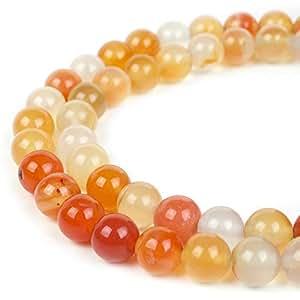 RVG 天然宝石珠圆石摇滚松石 Mala 39.37 cm 珠串用于珠宝制作多种风格 Carnelian 10mm 0747565975861