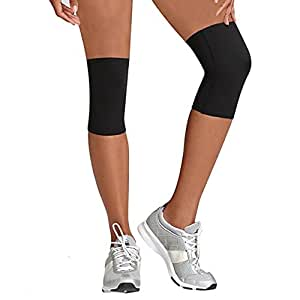 Beautyko USA Women's Thera Copper Fatigue Preventing Athletic Compression Knee Sleeve (2 Pair), Black