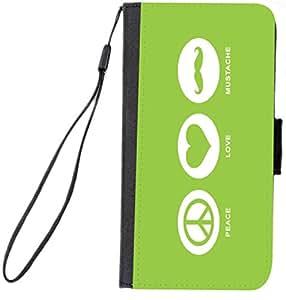 Rikki Knight 三星 Galaxy S6 手机套 - 黑色RK-FlipS6Galaxy42882 Peace Love Mustache Lime Green Color Design 黑色
