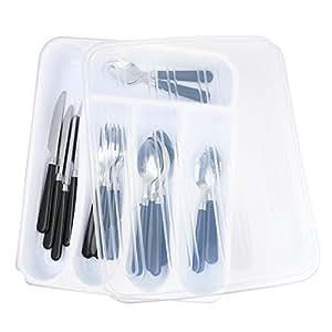 Flatware Storage 塑料托盘带盖,厨房餐具和配件盒,厨房厨房厨房用具盒带盖抽屉收纳盒,返校学院宿舍室组织必备品 白色 14195567