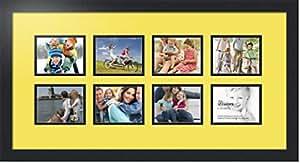 ArtToFrames 拼贴照片框双垫,带 8 个开口和黑色缎框。 Canary 8-4x5 Double-Multimat-395-47R/89-FRBW26079