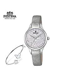 【跨境自营】Festina 法斯蒂納 石英女士手表+手镯套装 F20409/1(保税区直发,包邮包税)