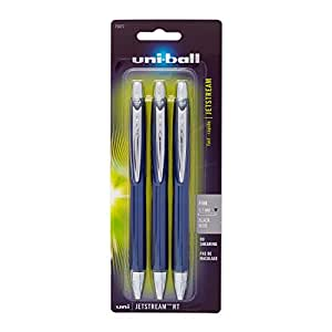 uni-ball Jetstream RT Fine Point Retractable Roller Ball Pens, 3 Black Ink Pens (70877)