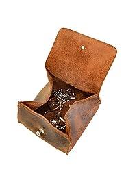 Hide & Drink,皮革珠宝袋/盒/戒指/收纳盒/现金/钱包,手工制作包括 101 年质保:波旁棕色