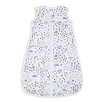 aden + anais Essentials 婴儿睡袋,* 纯棉平纹细布,可穿戴式襁褓毯,适合女孩和男孩,新生儿睡袋,TOG 评级 1.0,小世界,大号,12-18 个月