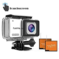 RUNME R3 2.45 英寸触屏 4K 16MP Wi-Fi 运动摄像机,30M 防水摄像机,170° 广角镜头,运动凸轮带配件套件和 2 个可充电电池(白色)