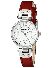 ANNE KLEIN 女士 109443WTRD 皮革表帶手表,紅色/銀色,均碼