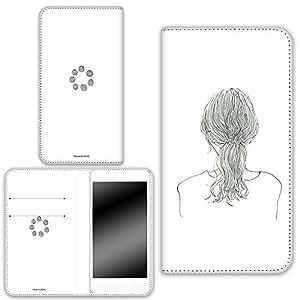 卡丽 壳 双面印刷手册 女孩子马尾 智能手机壳 手册式 对应全部机型 女の子ポニーテールA 4_ AQUOS SH-M01