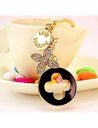 Cy3Lf 树叶三叶草水晶水钻钥匙链闪亮钥匙圈吊坠手提包装饰节日礼物(黑色)
