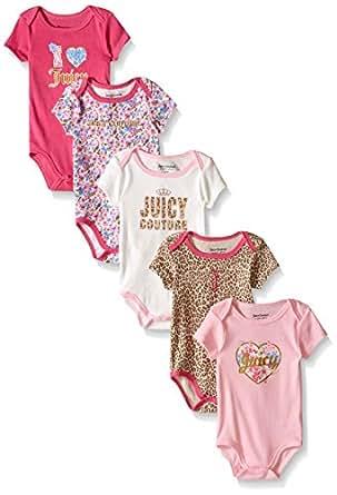 Juicy Couture 女婴短袖连体衣 5 件套 Pink/Brown 6-9 Months