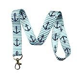 锚和条纹挂绳钥匙链 ID 徽章夹