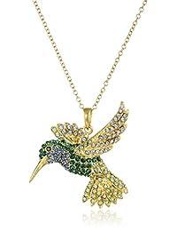 18K 镀黄金纯银绿色和蓝色蜂鸟吊坠项链,施华洛世奇*制造 18 英寸(约 45.7 厘米)