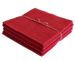 10 条羊毛毡床单 - 纯 * 羊毛 - 10 5 英寸 x 5 英寸 Cherry Cordial NN-F119782-CHMPK-WCFOO6-973
