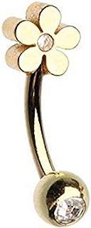 Amelia 时尚 16 号金羽毛线外螺纹杠铃/眉环 316L *不锈钢材质