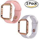 For Fitbit Blaze Band,TOROTOP Soft Silicone Replacement Strap with Rose Gold Frame for Fitbit Blaze Smart Fitness Watch 2 Pcs Silicon Bands(pink+white)+1 Rose Gold Frame 小号