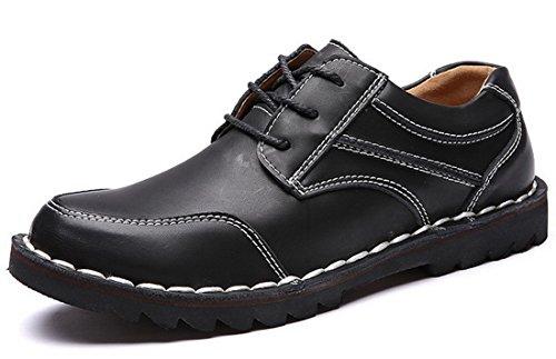 古奇天伦 时尚潮流男鞋 秋季男士休闲鞋 圆头皮鞋 低帮工装鞋 复古运动休闲鞋 真皮大头鞋
