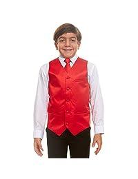 Vittorino 男孩 4 件套正式缎面燕尾服背心套装带背心领结手帕