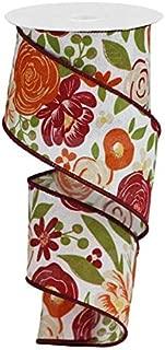 帆布上大胆的花朵花朵 有线边缘丝带 10 码 Red, Burgundy, Gold, Green 2.5 inch RGA1682MY