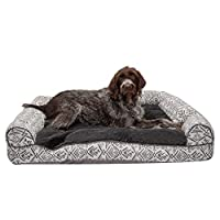 Furhaven 宠物狗床 | 枕头靠垫传统沙发和豪华矫正矩形泡沫床垫宠物床 w/可拆卸狗和猫罩——多种颜色和款式可选 Kilim Boulder Gray 特大号