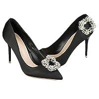 休闲时尚 1 双女式水晶水钻叶花鞋扣新娘婚礼 Pary 鞋扣