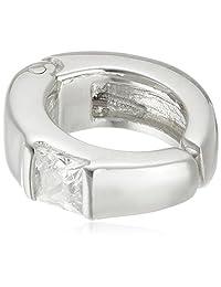 [cenote ] cenote 【银饰品】 方形宝石耳夹 白氧化锆 15352300