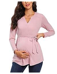 Glampunch 女式孕妇上衣 V 领盖袖长袖束腰上衣夏季休闲孕妇衬衫