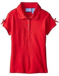 Nautica Little Girls' Short Sleeve Interlock Polo with Bow