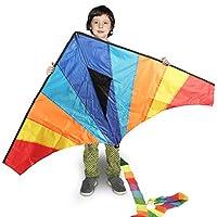 NAMOTEK 大号 Delta Rainbow 儿童风筝,300 英尺风筝绳和手柄,易于组装和飞行,户外游戏
