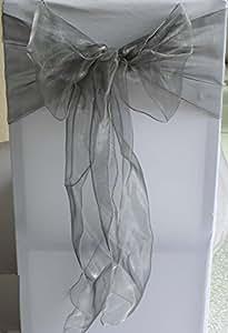 SARVAM FASHION SF 新款 50 张椅子装饰性欧根纱腰带蝴蝶结设计用于婚礼活动宴会家庭厨房装饰 - 银灰色 SLIPOVERS