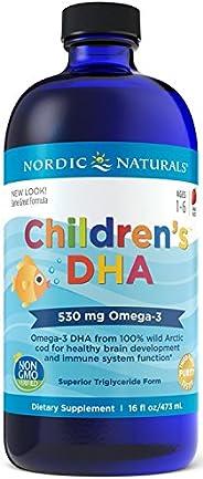 Nordic Naturals 儿童液体DHA-Omega-3 DHA鱼油补充剂,适用于儿童,草莓,16盎司/473毫升