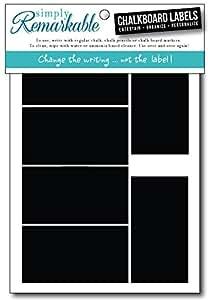 黑板标签 - 矩形粉笔标签可移除,可重写,简洁无痕! 整理,个性化,经典,经久耐用。 大