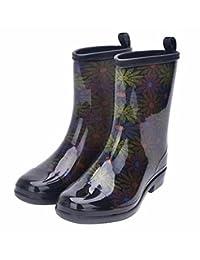 Jiu du 女士粗跟防水雨靴和花园圆头时尚雨鞋
