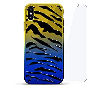 Luxendary 渐变系列 360 套装:透明超薄硅胶保护套 + 适用于 iPhone Xs Max 的钢化玻璃(6.5 英寸)LUX-IMXCRM2B360-TIGER2 ANIMALS: TIGER SPOTS PATTERN 蓝色(Dusk)