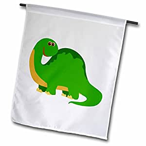 3dRose fl_116525_1 可爱绿色野兽恐龙卡通花园旗,30.48 x 45.72 cm
