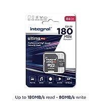 Integral 64GB Micro SD 卡可讀取 180MB/s 并寫入 80MB/s MicroSDXC V30 U3 UHS-1 4k 視頻 A2-2020 新款