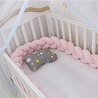 Lion Paw 婴儿床缓冲垫 158 英寸婴儿床侧边保护垫 婴儿床栏 新生儿礼物 结编织 毛绒 托儿 装饰(粉色 158 英寸)