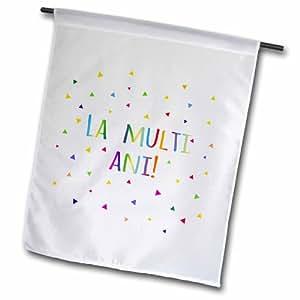 3dRose fl_202050_1 La Multi ANI 生日快乐,罗马尼亚彩色彩虹文字罗马尼亚花园旗,30.48 x 45.72 厘米